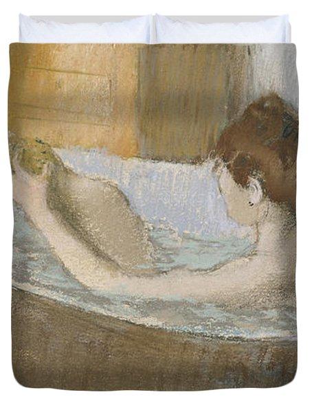 Woman In Her Bath Duvet Cover by Edgar Degas