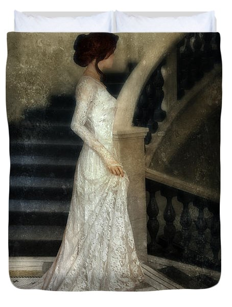 Woman In Lace Gown On Staircase Duvet Cover by Jill Battaglia