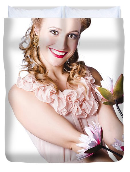 Woman In Negligee With Lillies Duvet Cover