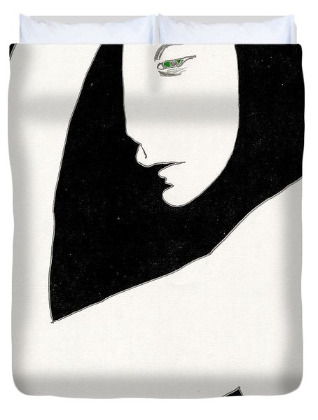 Woman In Shadows Duvet Cover