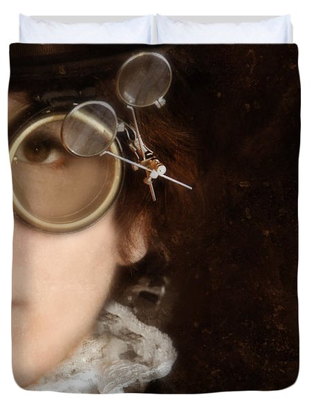 Woman In Steampunk Clothing  Duvet Cover by Jill Battaglia