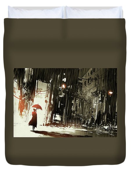 Woman In The Destroyed City Duvet Cover