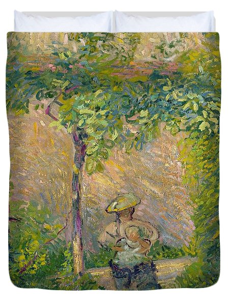 Woman In The Garden Duvet Cover by Hippolyte Petitjean