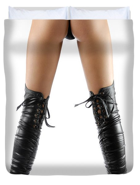 Woman Legs In Black Sexy Thigh High Stiletto Boots Duvet Cover