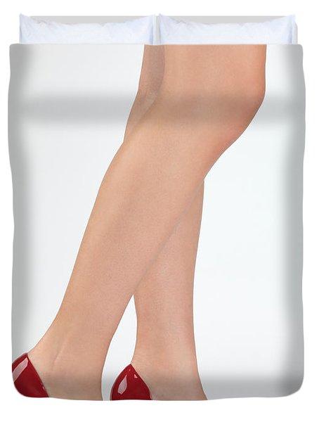 Woman Legs In High Heel Shoes Duvet Cover by Oleksiy Maksymenko