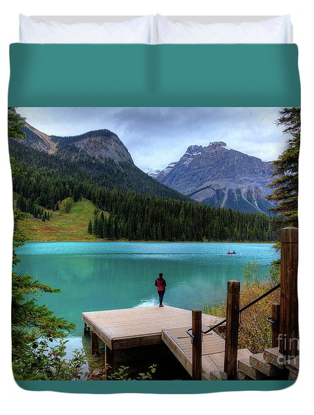 Woman Looking Emerald Lake Yoho National Park British Columbia Canada Duvet Cover
