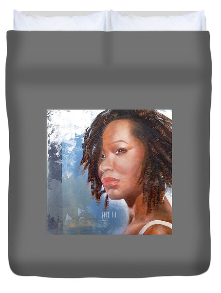 Duvet Cover featuring the painting Woman Of Magdala by Christopher Marion Thomas