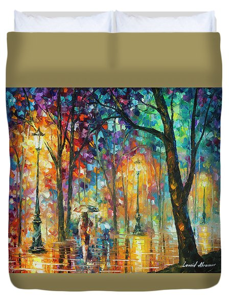 Woman Of The Night Duvet Cover by Leonid Afremov