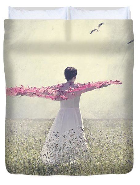 Woman On A Lawn Duvet Cover by Joana Kruse