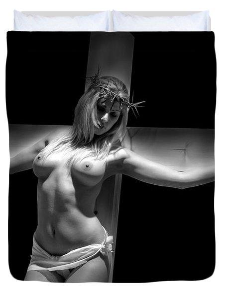 Woman On Cross Duvet Cover