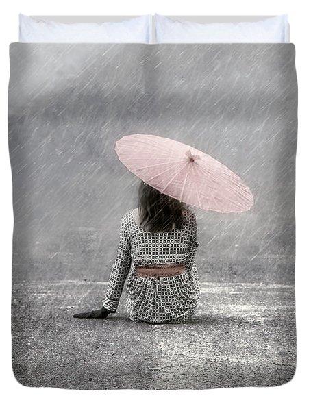 Woman On The Street Duvet Cover