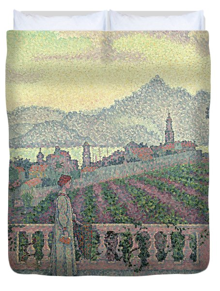 Woman On The Terrace Duvet Cover by Paul Signac
