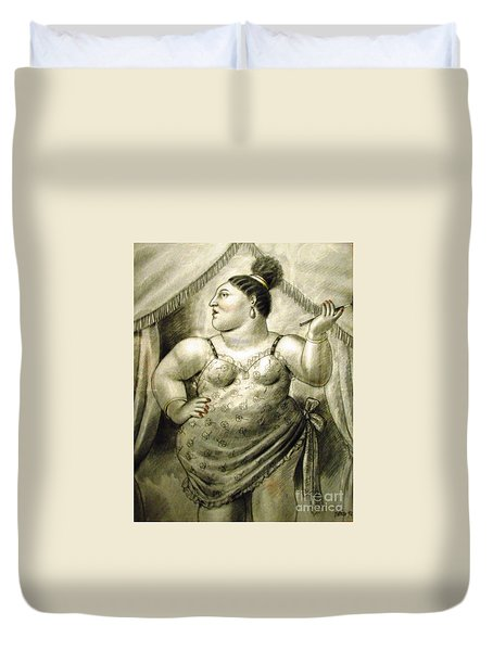 woman performer Botero Duvet Cover
