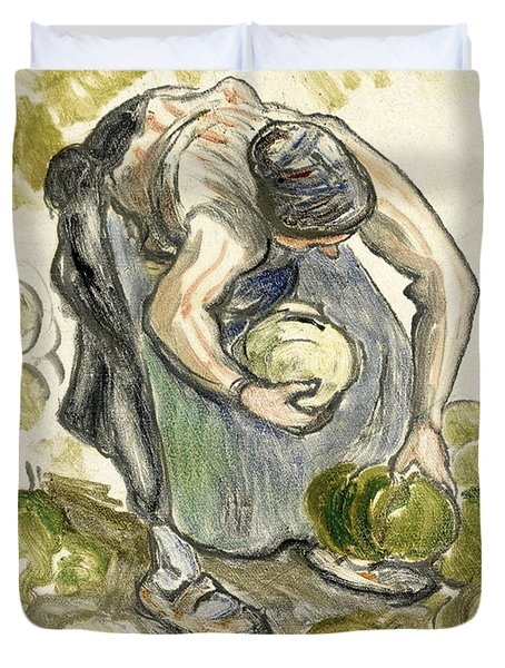 Woman Picking Cabbage Duvet Cover