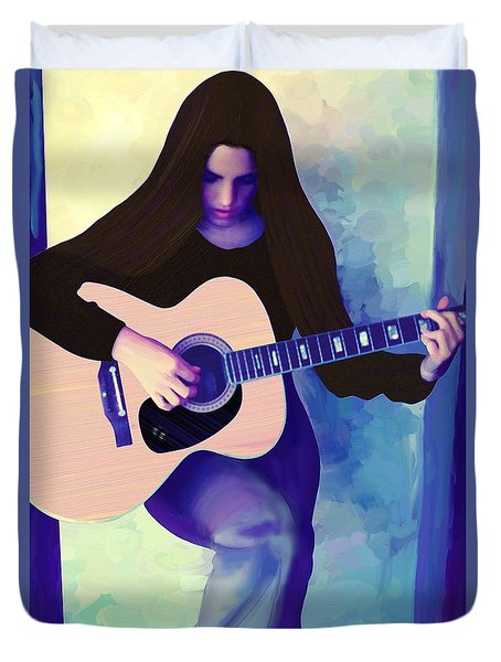 Woman Playing Guitar Duvet Cover