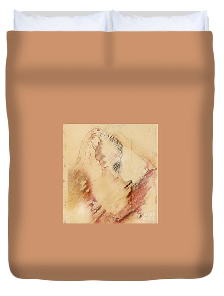 Woman Primping Duvet Cover