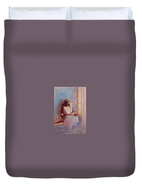 Woman Reading By Window Duvet Cover