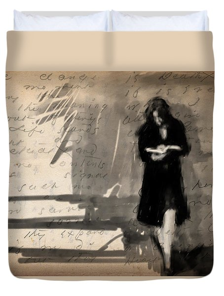 Woman Reading Duvet Cover by H James Hoff