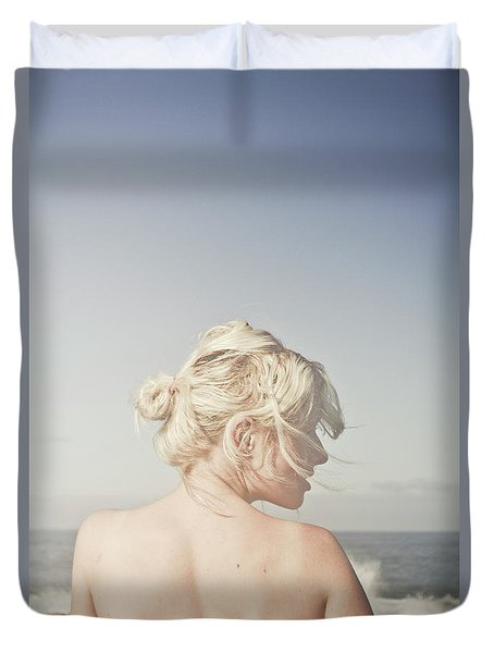 Woman Relaxing On The Beach Duvet Cover