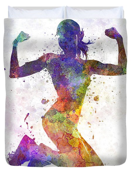 Woman Runner Jogger Jumping Powerful Duvet Cover