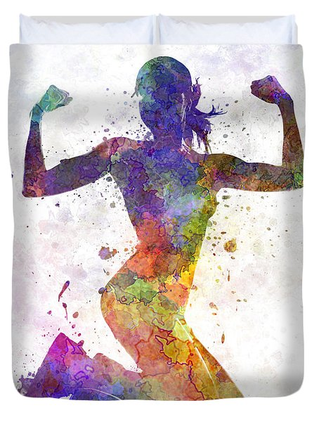 Woman Runner Jogger Jumping Powerful Duvet Cover