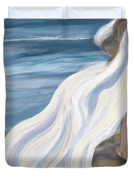 Woman Strolling On The Beach Duvet Cover
