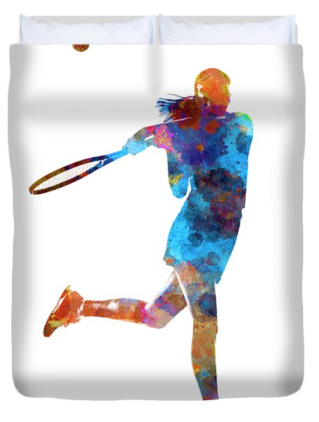 Woman Tennis Player 03 In Watercolor Duvet Cover