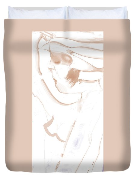 Woman Touches Hat Duvet Cover