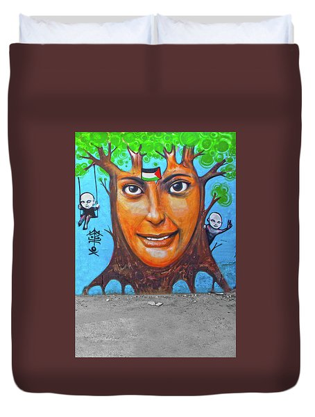 Duvet Cover featuring the photograph Woman Tree by Munir Alawi