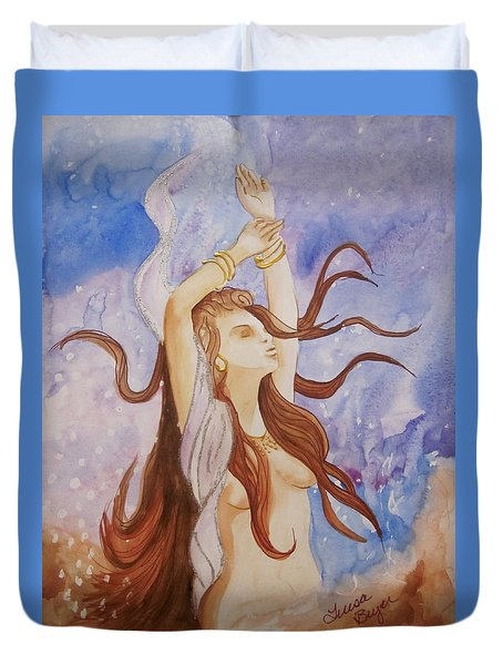 Duvet Cover featuring the painting Woman Unleashed by Teresa Beyer