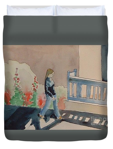Woman Walking Down Nusbaum Street Duvet Cover