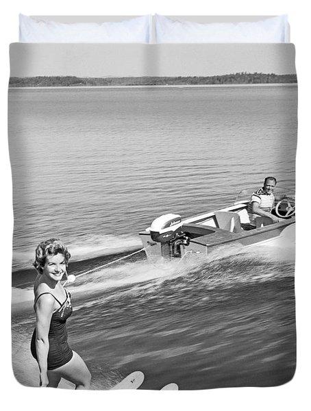 Woman Water Skiing Duvet Cover