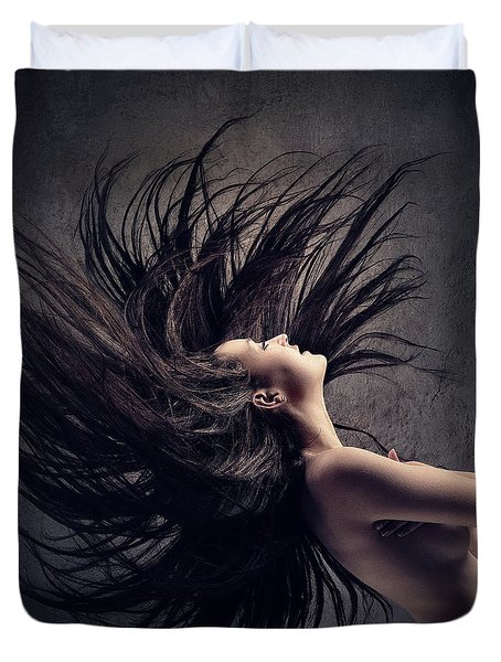 Woman Waving Long Dark Hair Duvet Cover