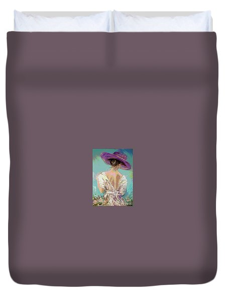 Woman Wearing A Purple Hat Duvet Cover