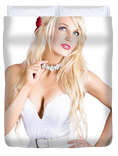 Woman Wearing Diamond Necklace Duvet Cover