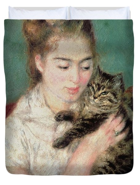Woman With A Cat Duvet Cover by Pierre Auguste Renoir