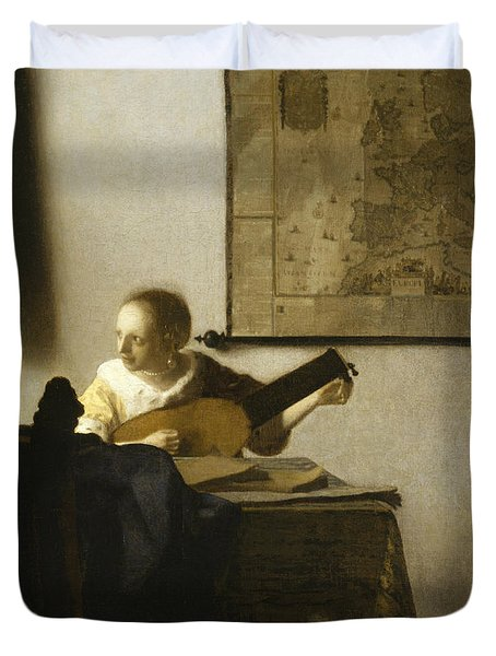 Woman With A Lute Near A Window Duvet Cover
