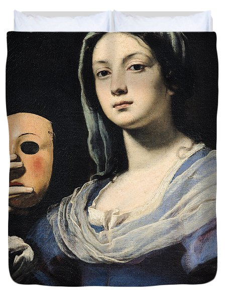 Woman With A Mask Duvet Cover by Lorenzo Lippi