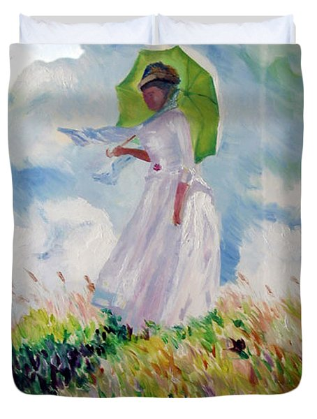 Woman With A Parasol Duvet Cover