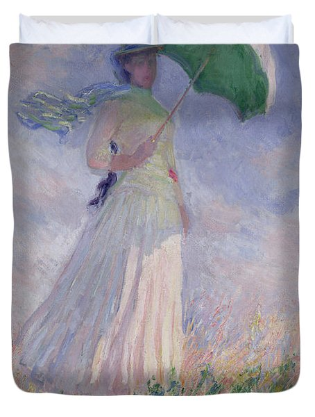 Woman With A Parasol Turned To The Right Duvet Cover
