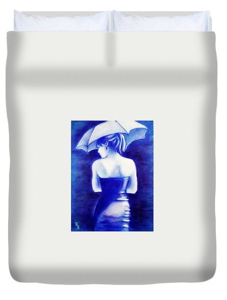 Woman With An Umbrella Blue Duvet Cover