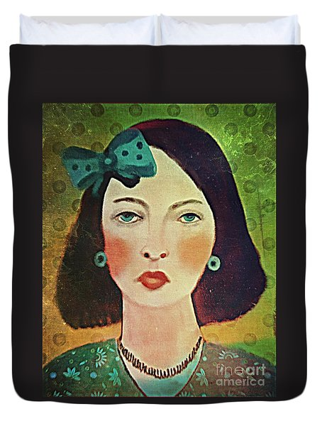 Woman With Blue Hair Bow Duvet Cover