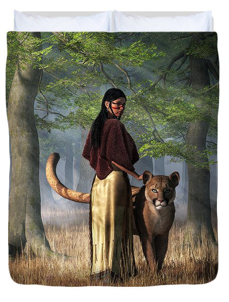 Woman With Mountain Lion Duvet Cover