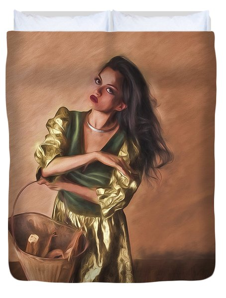 Woman With Pail  ... Duvet Cover