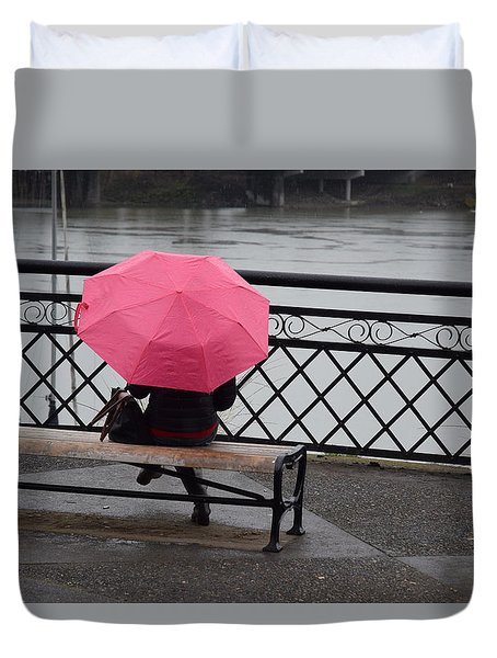 Woman With Pink Umbrella. Duvet Cover