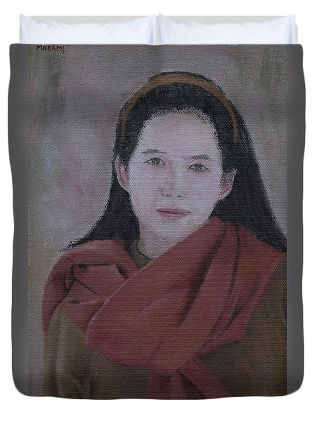 Woman With Scarf Duvet Cover