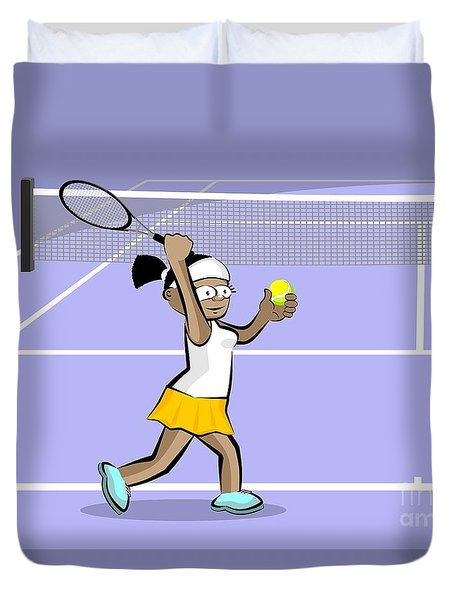 Woman With Tennis Ball In Her Hand Ready To Do A Serve Duvet Cover