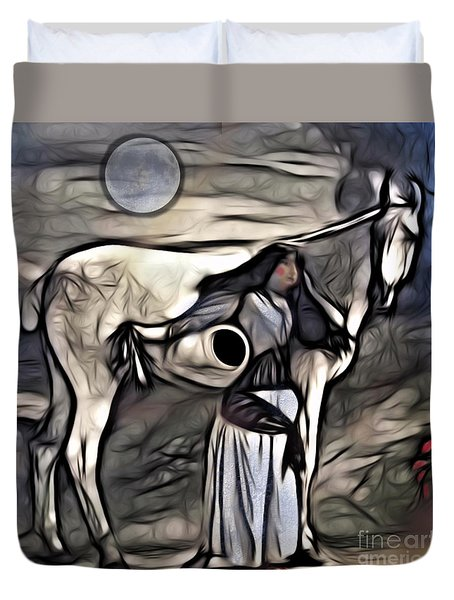 Woman With White Horse Duvet Cover by Alexis Rotella