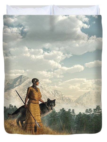 Woman With Wolf Duvet Cover