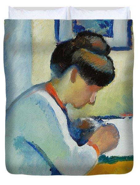Woman Writing Duvet Cover